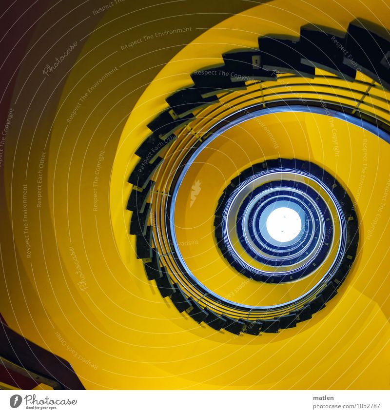 spin Deserted House (Residential Structure) Wall (barrier) Wall (building) Stairs Rotate Blue Yellow Staircase (Hallway) Banister Skylight Spiral Colour photo