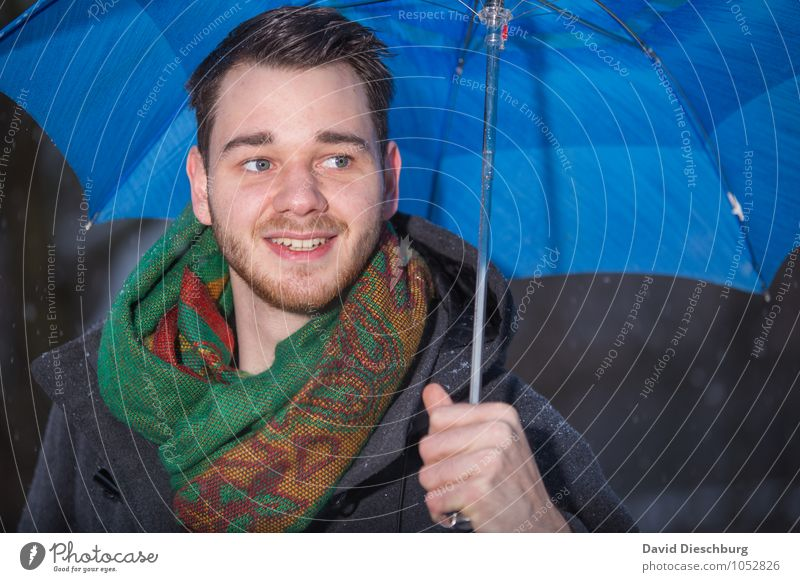 Singing in the rain Masculine Young man Youth (Young adults) 1 Human being 18 - 30 years Adults Spring Autumn Winter Climate change Bad weather Rain