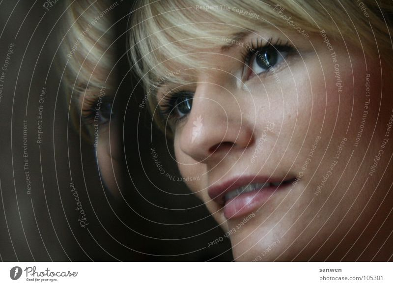 Woman Human being Joy Eyes Loneliness Far-off places Lamp Happy Laughter Hair and hairstyles Mouth Warmth Contentment Blonde Nose Vantage point
