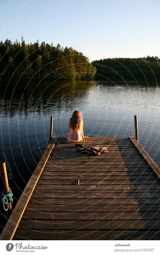 landing stage Footbridge Young woman Wood Forest Lake Sunset Water Sweden