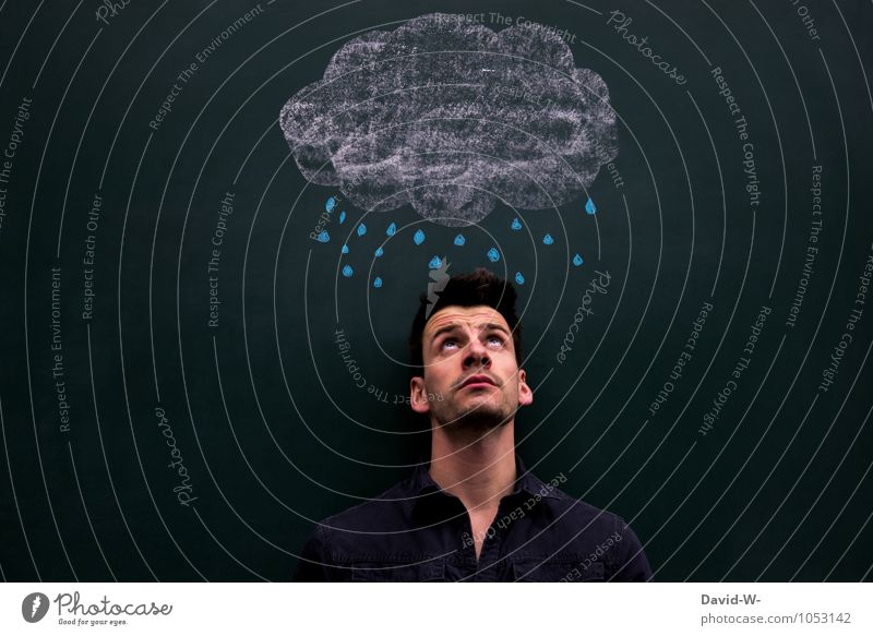 Human being Youth (Young adults) Clouds Young man Healthy Above Masculine Dream Rain Wet Observe Protection Dry Illness Personal hygiene Storm