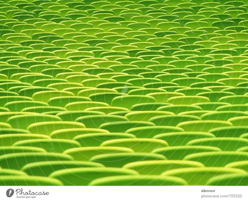 Green Colour Leisure and hobbies Places Empty Munich Seating Stadium Row of seats Europe Olympics Bavaria Greeny-yellow