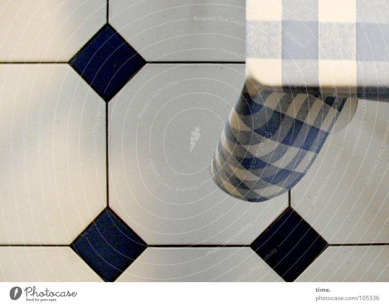 The squaring of space Morning Table cake Stripe hang Communicate Blue Black White Symmetry Square Sky blue Light blue Household Tile against the trend Wrinkles