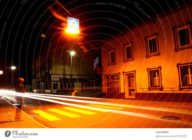 without you i'm nothing Town Zebra crossing Light Man Transparent House (Residential Structure) Lighting Oppressive Dark Mystic Night Long exposure Driving