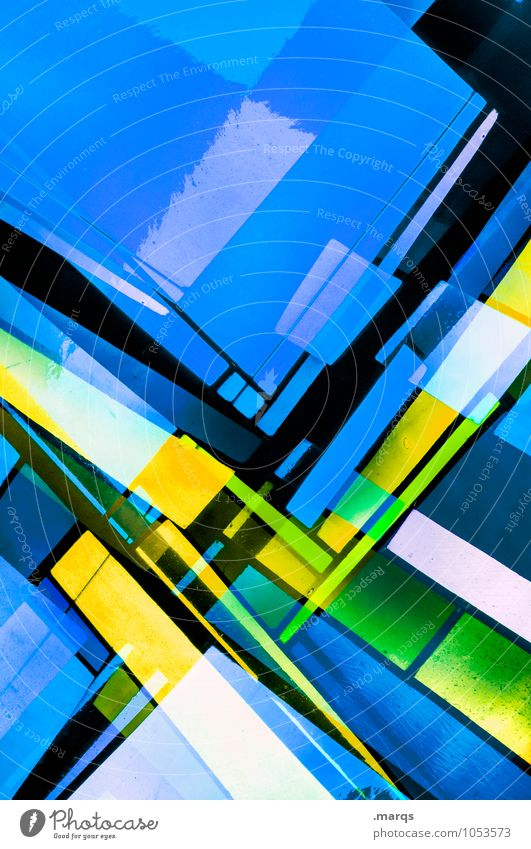 Blue Colour Black Yellow Style Background picture Lifestyle Exceptional Line Design Elegant Modern Glass Crazy Perspective Future