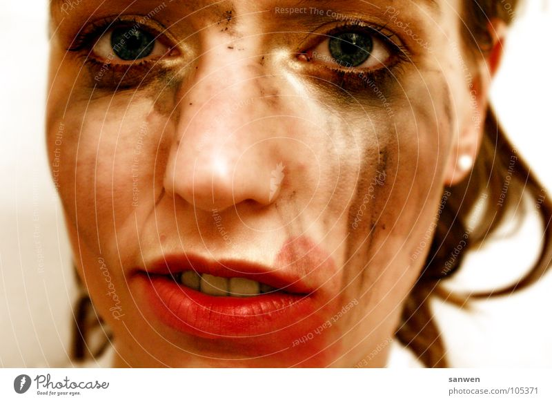 Human being Woman Beautiful Red Black Face Eyes Dirty Nose Lips Make-up Brash Self-confident Hideous Mix Indifference