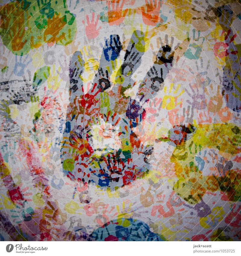 Shake on it! Joy Hand Crowd of people Youth culture Illustration Collection Imprint Exceptional Together Hip & trendy Uniqueness Many Moody Happiness