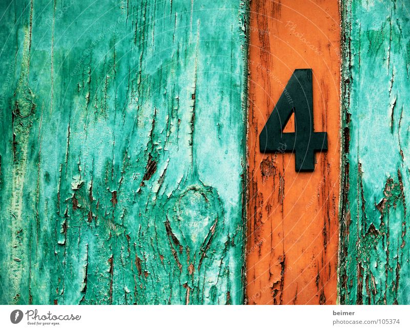 Old Green Colour Wood Brown Orange Door Digits and numbers 4 Derelict Symbols and metaphors