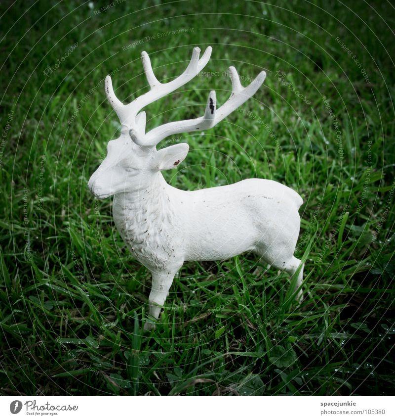 stag Deer Antlers Animal Green White Sculpture Joy Wild animal Lawn
