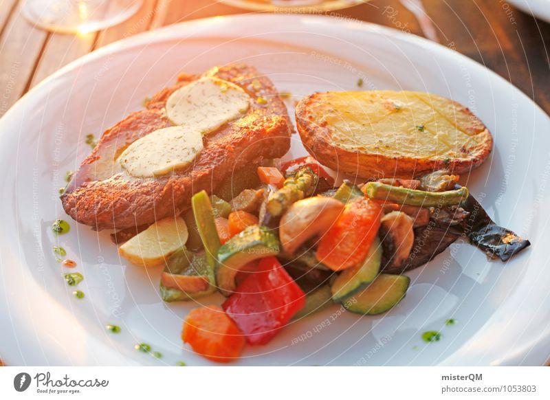 Sunshine dinner. Food Meat Seafood Vegetable Dinner Esthetic Majorca Meal Restaurant Steak Beans Potatoes Food photograph Healthy Eating Delicious Appetite