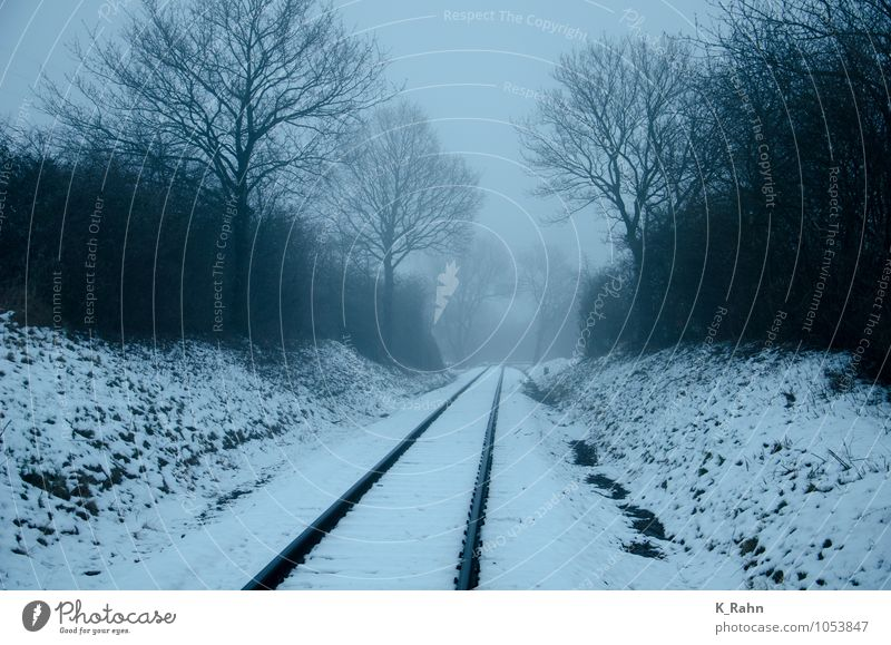 Fog over tracks Vacation & Travel Tourism Trip Far-off places Winter Snow Economy Trade Logistics Technology Weather Bad weather Train station