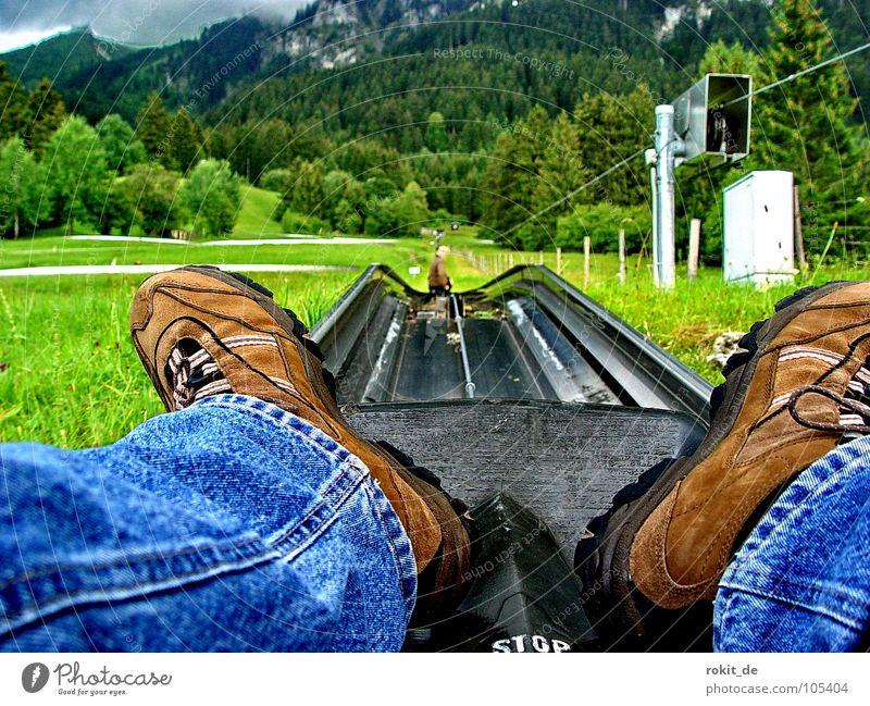 Give rubber Rubber Summer Toboggan run Sledding Tegelberg Allgäu Steep Footwear Sit Centripetal force Brown Green Tegelbergbahn Speed Slowly Joy Playing