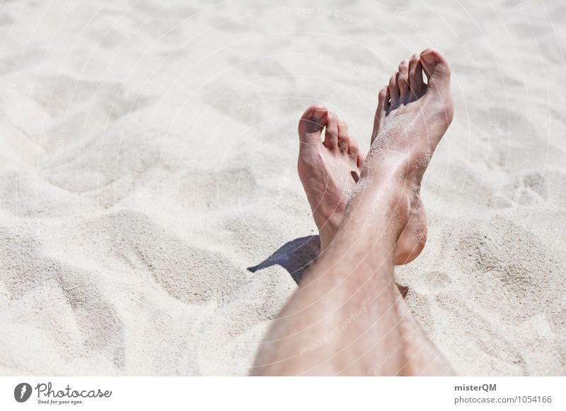 Vacation & Travel Summer Relaxation Loneliness Warmth Legs Sand Feet Art Lie Contentment Esthetic Break Sunbathing Summer vacation Sandy beach