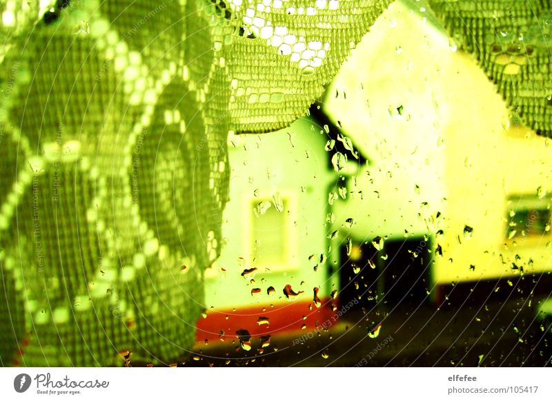 Green House (Residential Structure) Yellow Street Autumn Window Rain Weather Gloomy Vantage point Living room Drape Curtain