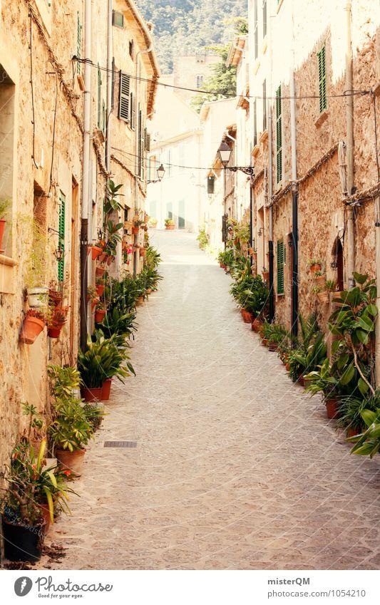 Spanish Dream. Art Esthetic Contentment Street Alley Plant Mediterranean Valldemossa Majorca Idyll Spain Dreamily Facade Upward Colour photo Subdued colour