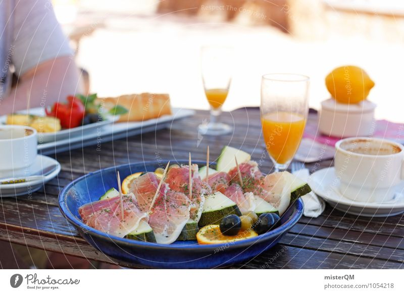 Breakfast in Mallorca Food Nutrition Esthetic Healthy Eating Delicious Melon Ham Snack Orange juice Breakfast table Morning break Vacation photo Vacation mood