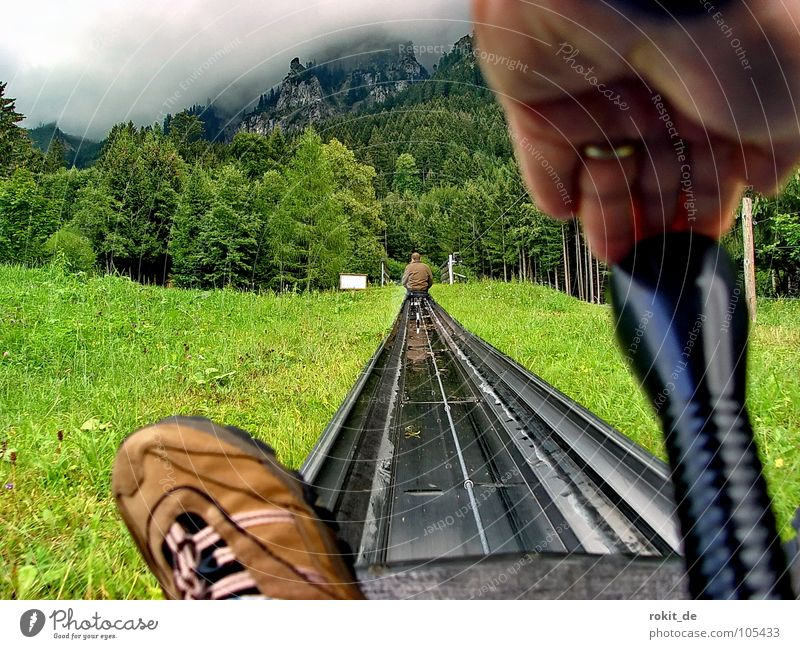 Stick forward! Give rubber II Rubber Summer Toboggan run Sledding Tegelberg Allgäu Steep Footwear Sit Stop Brown Green Cudgel Pushing Tegelbergbahn Speed Slowly