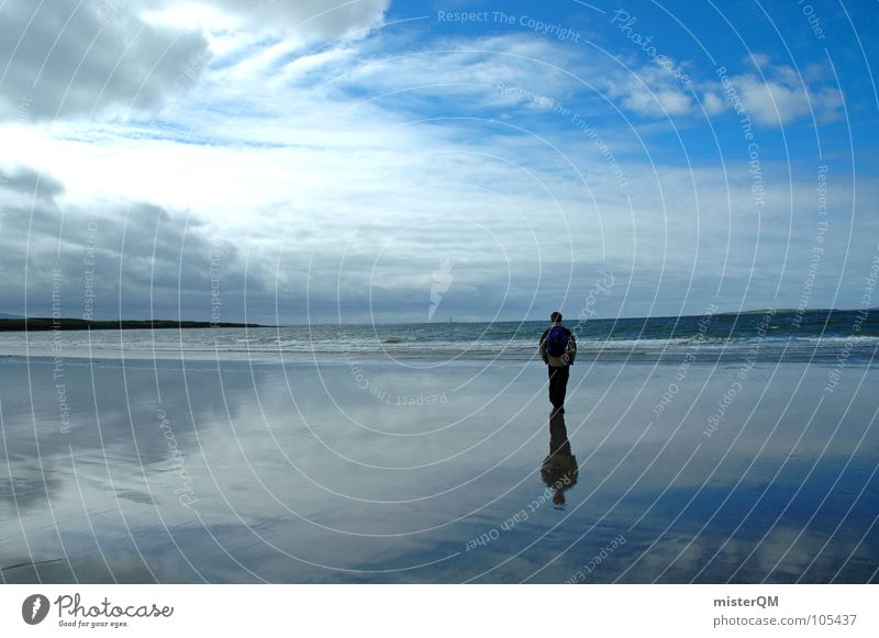 Human being Man Water Sky White Sun Ocean Blue Beach Calm Black Clouds Loneliness Far-off places Dark Freedom
