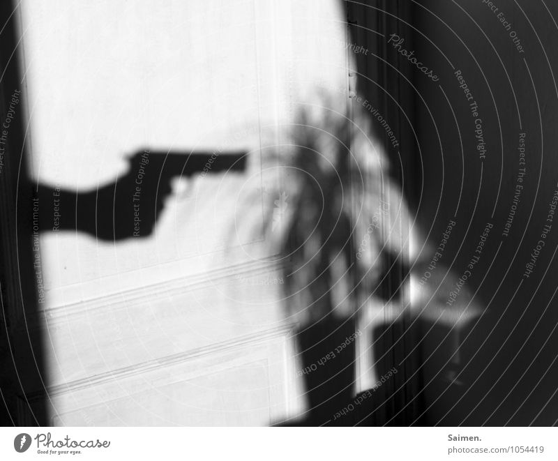 the gardener Sign Threat Dangerous Contempt Anger Aggravation Grouchy Fear Handgun Weapon Plant Black & white photo Interior shot Copy Space top Day Light