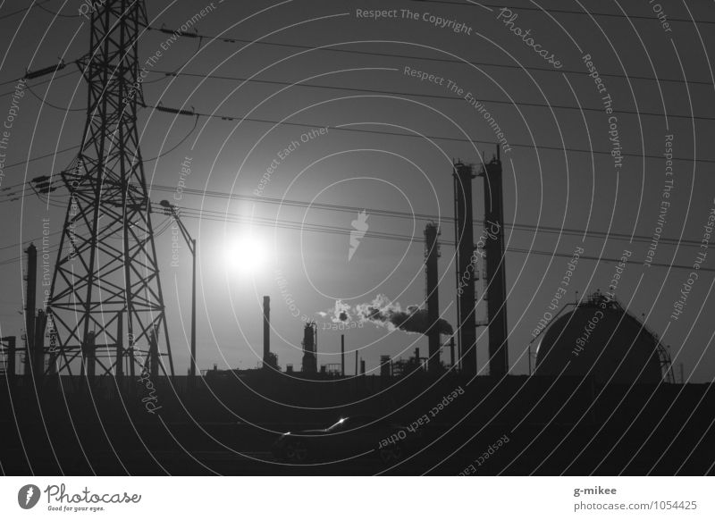 Industry Technology Advancement Future Industrial plant Factory Metal Gigantic Modern Town Black Black & white photo Exterior shot Deserted Evening Contrast