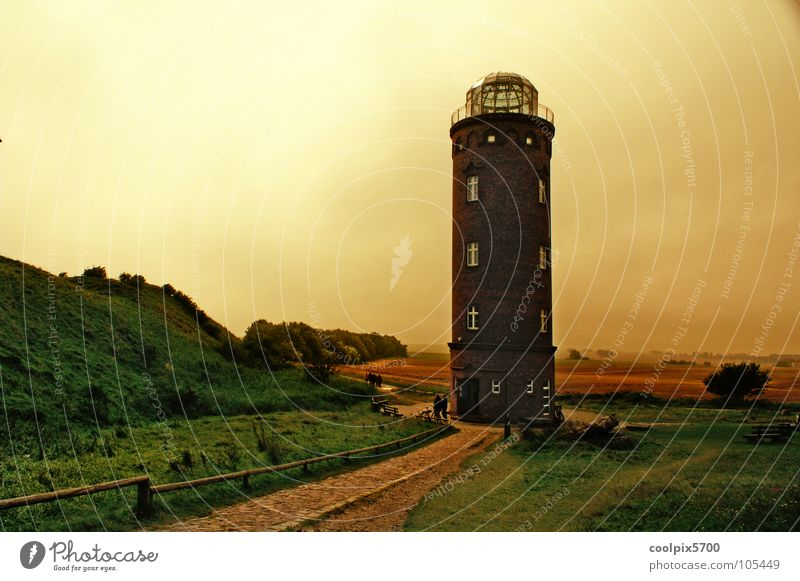 Bearing tower at Cape Arkona Lighthouse Rügen Cap Arcona Ocean Vacation & Travel Beach Watercraft Lamp Meadow Coast Yellow Red White Clouds Bad weather