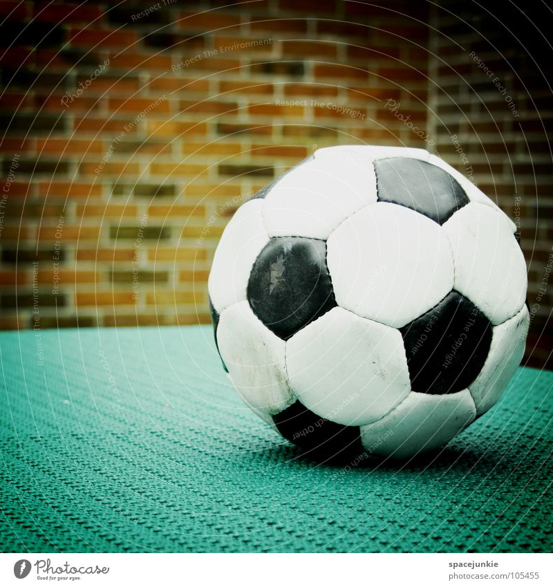 football Playing Black White Wall (building) Leather Leisure and hobbies Round Ball Deserted Brick wall Foot ball 1 Vignetting Glittering Hexagon Lie Sphere