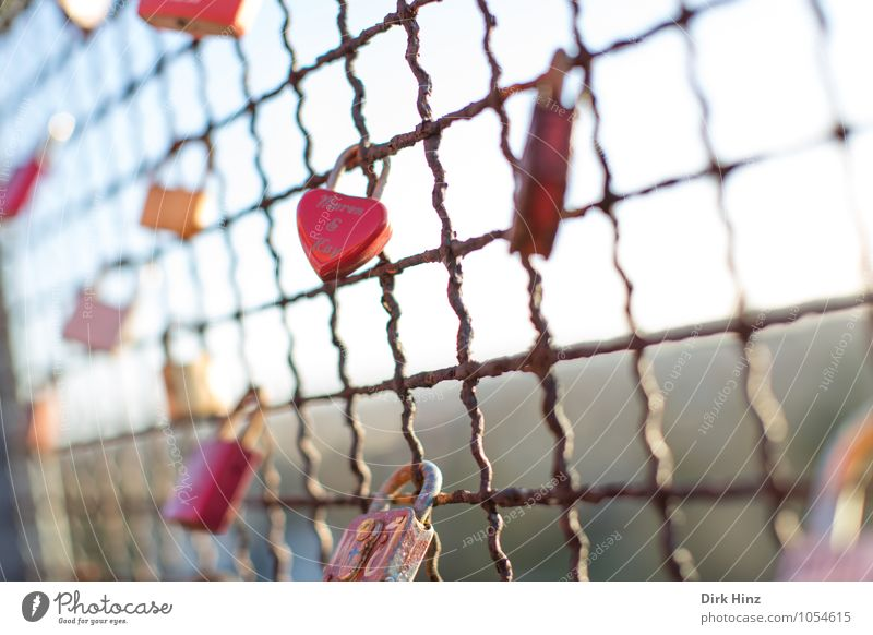 Sky Red Emotions Love Happy Metal Together Dream Heart Sign Protection Safety Attachment Fence Trust Passion
