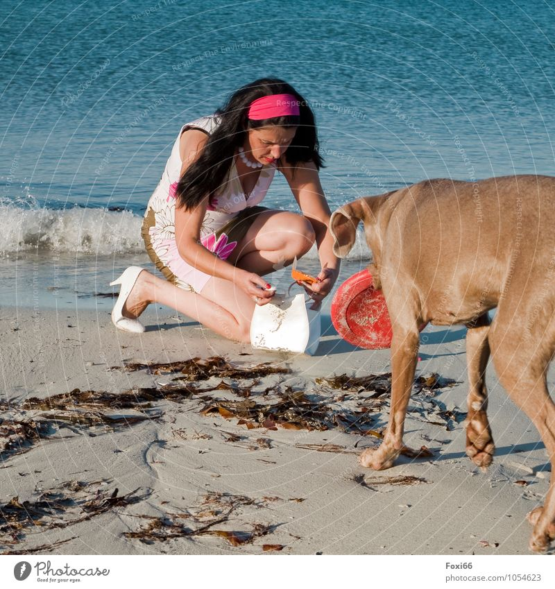 Dog Human being Woman Blue Water Summer Sun Animal Beach Adults Feminine Coast Funny Style Feasts & Celebrations Moody