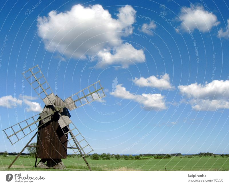 Sky Ocean Blue Clouds Meadow Art Craft (trade) Historic Beach dune Sweden Tourist Attraction Mill Miller Oeland