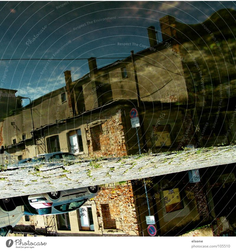 water_love Wet Damp Dry Puddle Old Empty Derelict Broken House (Residential Structure) Building Factory Loneliness Stripe Vertical Reflection 180