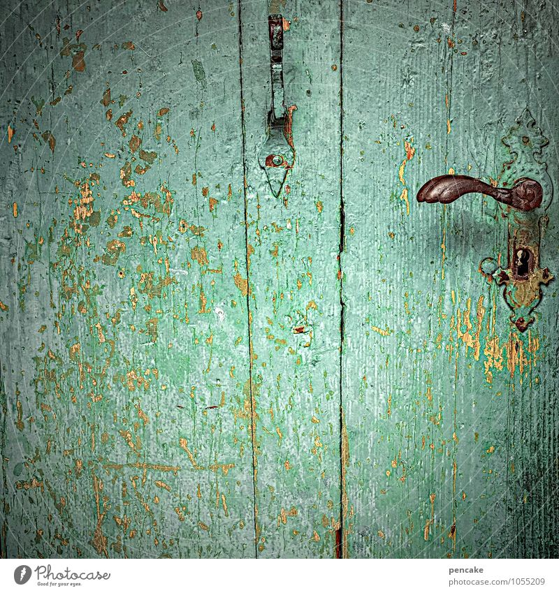 It doesn't get greener Door Wood Sign Esthetic Turquoise Keyhole Derelict Checkmark Door handle Old fashioned Varnish Flake off Colour photo Exterior shot