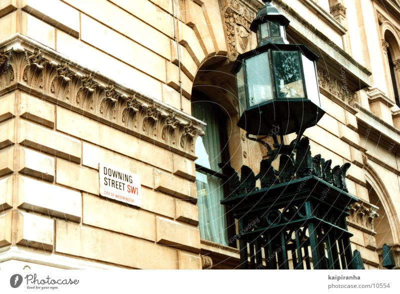 "Home of ""THE BLAIR"" London House (Residential Structure) Lantern England Great Britain Street sign Government Building Architecture Downing Street Rain Select"
