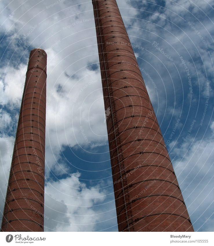 White Blue Red Clouds High-rise Industry Level Brick Historic Kassel Himmelsstürmer