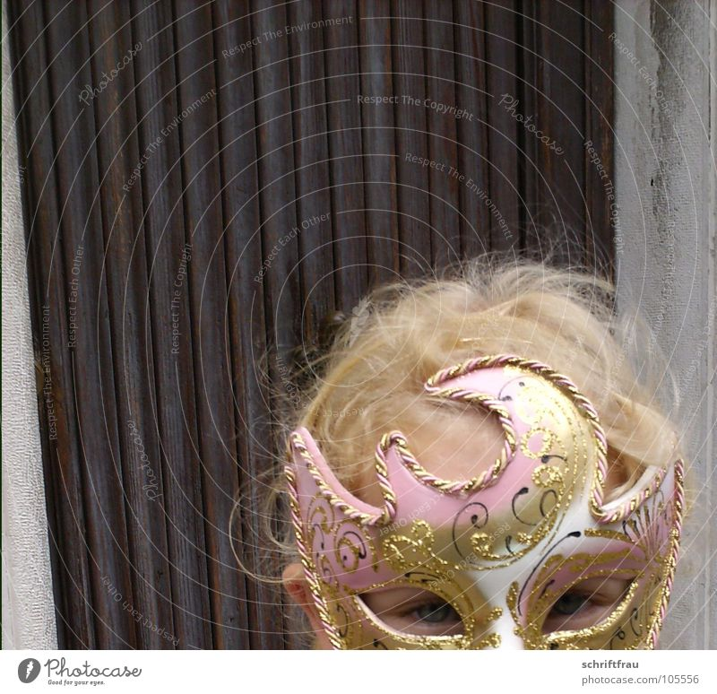 Child Girl Beautiful Eyes Wood Brown Fear Glittering Blonde Pink Door Gold Italy Mask Carnival Hide