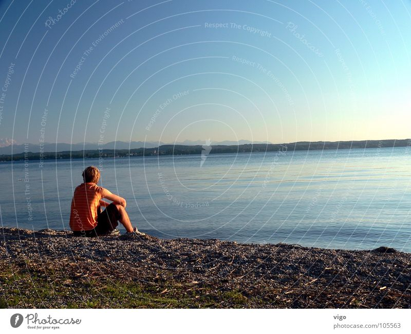 Chill-out zone. Lake Lake Starnberg Sunset Summer Beach To enjoy Alps Water Sky Blue Orange chilly