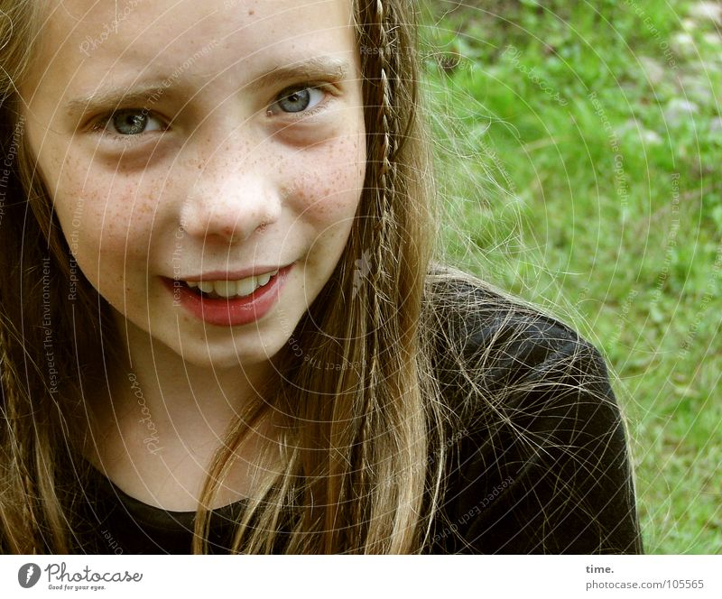 Child Girl Beautiful Face Meadow Garden Laughter Hair and hairstyles Blonde Trust Friendliness Direct Sweater Freckles Braids Plaited