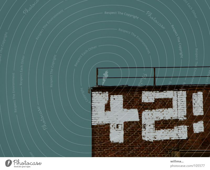 42! Wall (barrier) Wall (building) Digits and numbers Graffiti forty-two Tall Turquoise White Target Exclamation mark Upward Industrial Photography rail