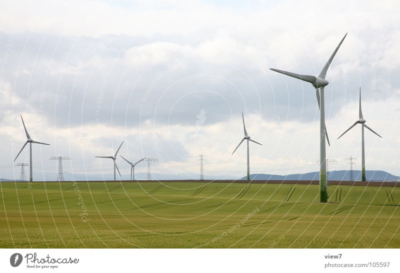 Sky Green Clouds Far-off places Yellow Meadow Grass Field Wind Power Tall Success Energy Large Free Speed