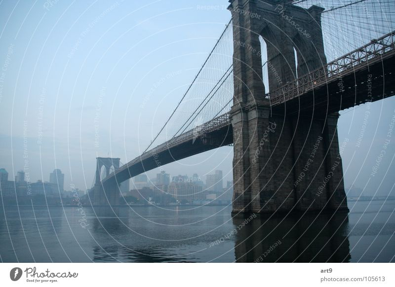 Brooklyn Bridge in the morning Stone bridge Suspension bridge Romance New York City Morning fog Exterior shot Historic River Water Sadness Architecture