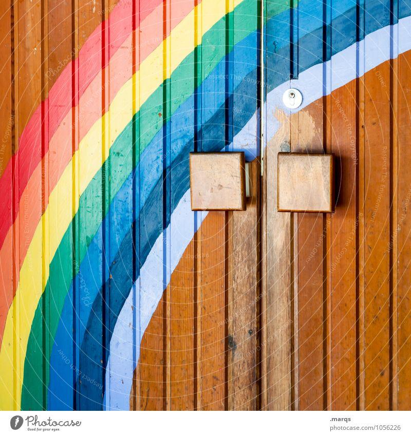 beginning of spring Front door Door Rainbow Sign Graffiti Beautiful Multicoloured Emotions Spring fever Beginning Colour Religion and faith Future Paradise