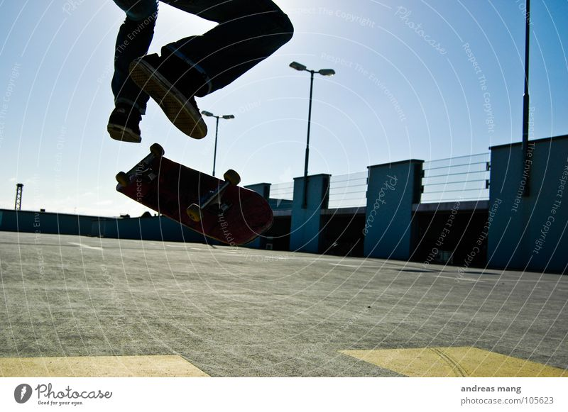 Sky Blue Yellow Movement Style Legs Lamp Above Jump Air Action Fitness Skateboarding Rotate Rotation Parking garage