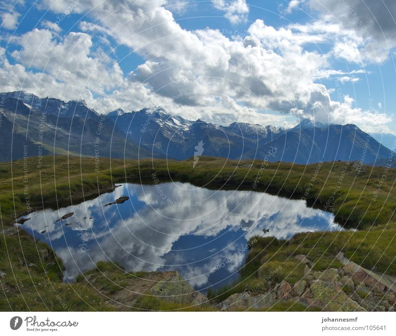 Sky Clouds Lake Wind Weather Switzerland Alps Peak Alpine pasture Mountain lake Canton Wallis