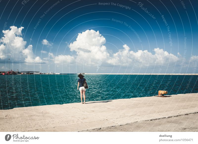 Human being Sky Vacation & Travel Youth (Young adults) Young woman Ocean Clouds 18 - 30 years Far-off places Adults Feminine Coast Horizon Contentment Tourism Beautiful weather