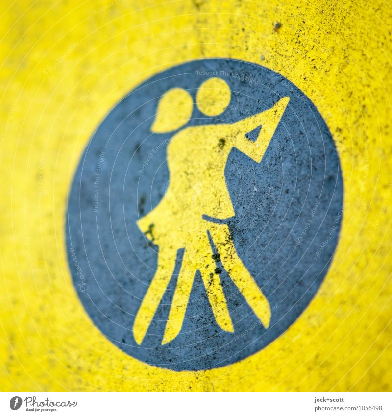 Symbol for dance school Dance Sporting Complex Dancer Pictogram GDR Varnished Signage Movement Dirty Retro Cliche Yellow Passion Agreed