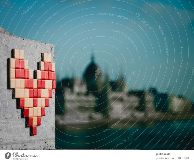 Love in Budapest Joy Sightseeing City trip Subculture Street art Three-dimensional Cloudless sky spring Tourist Attraction Parliament Stone Plastic Heart