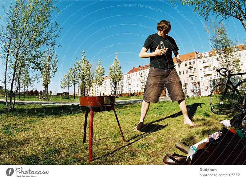 BBQ Ninja Colour photo Exterior shot Copy Space left Copy Space top Day Sunlight Fisheye Full-length Downward Picnic Summer Gastronomy Human being Masculine Man