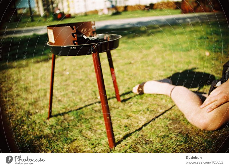 Summer BBQ Colour photo Multicoloured Exterior shot Day Sunlight Picnic Barbecue (event) Barbecue (apparatus) Charcoal Grill Park Joy Human being Legs 1 Grass