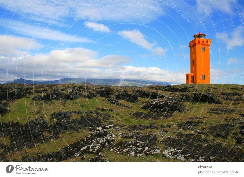 Sky Calm Clouds Far-off places Mountain Orange Tower Iceland Lighthouse Mystic Glacier Volcano Lava Comforting Glacier National park Snæfellsnes