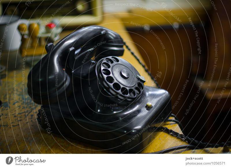 RingRing Klingelding.. Old Far-off places Black Glittering Lie Business Design Elegant Office Authentic Esthetic Communicate Transience Retro Telephone Plastic