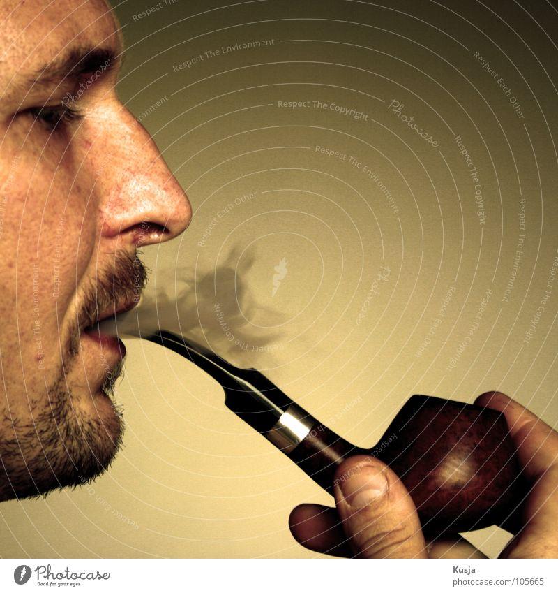 Man Red Yellow Brown Nose Fingers Smoking Smoke Facial hair To enjoy Tobacco Whistle